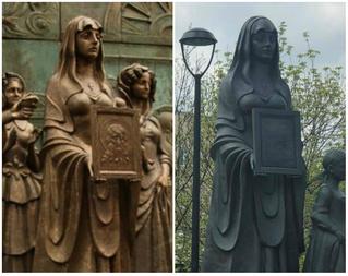 Церетели уличили в клонировании: сравни памятник жене декабриста и жене ополченца