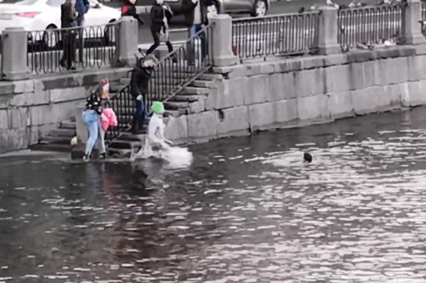 Фото №1 - Парень в Питере кинулся в ледяную воду, чтобы спасти парня, который кинулся спасать собаку (геройское видео)