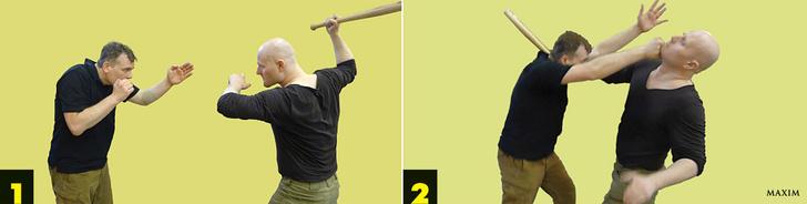 Бейсбольная бита летит сверху в голову