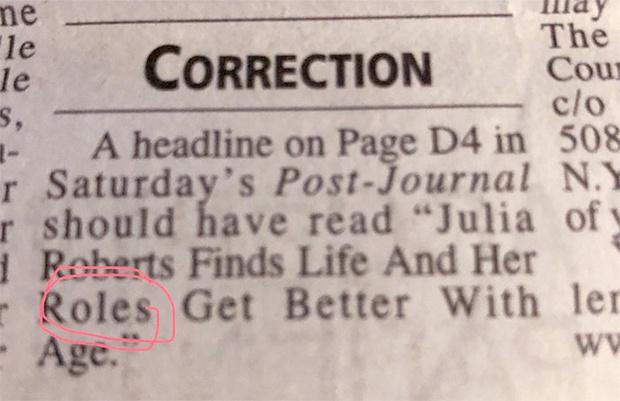 Фото №2 - Из-за дикой газетной опечатки Джулия Робертс стала предметом шуток
