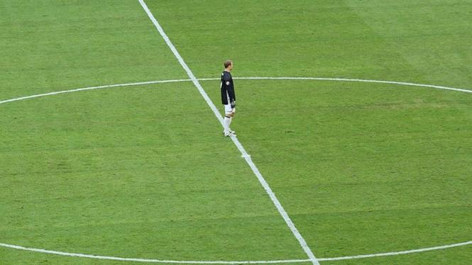 Вратарь немцев Мануэль Нойер, который пока не пропустил ни одного мяча на турнире