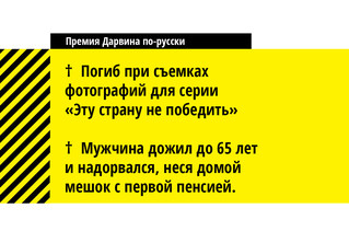 Хит-парад российских номинантов на «Премию Дарвина» этого года