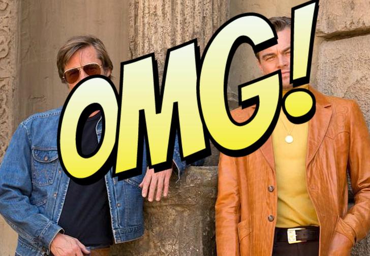 Фото №1 - В Сеть попал неотретушированный кадр с Ди Каприо и Брэдом Питтом