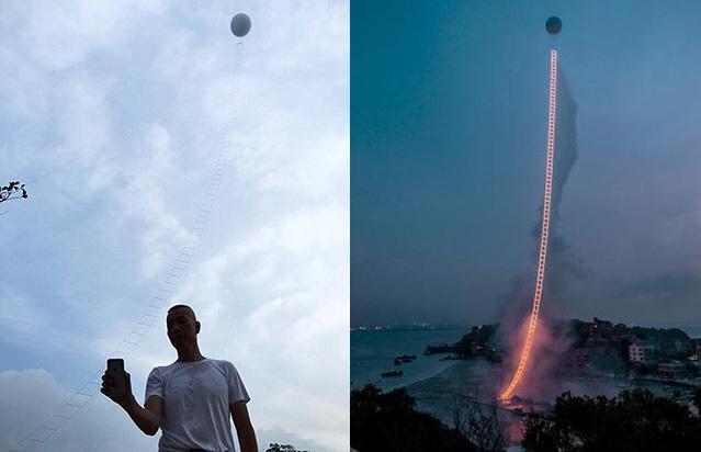 Фото №1 - Вот Сатана удивится! Самостроящаяся огненная лестница на небеса