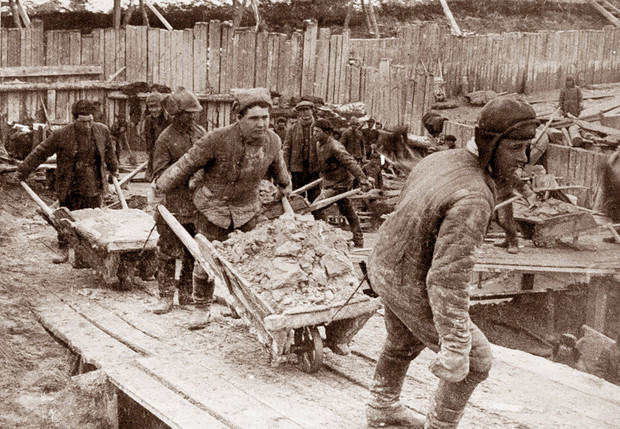 Заключенные на строительстве  Беломорканала. 1933 год