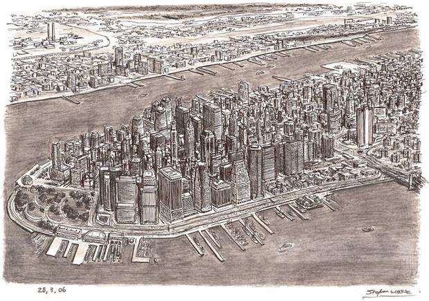 Вид на Манхэттен  с высоты полета  Стивена