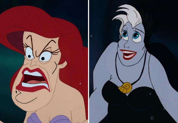 Фото №1 - Вот как выглядят диснеевские герои и злодеи, если их лица поменять местами
