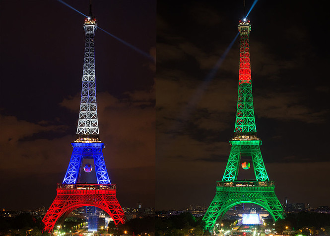 Эйфелева башня в цветах Франции и Португалии