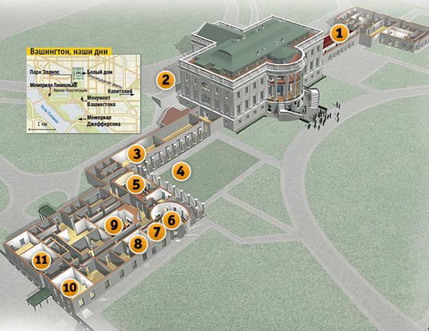 Схема Белого дома в Вашингтоне