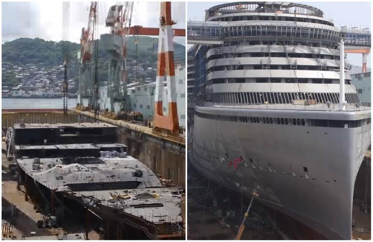 Фото №1 - Как строится гигантский круизный лайнер— пошаговое видео