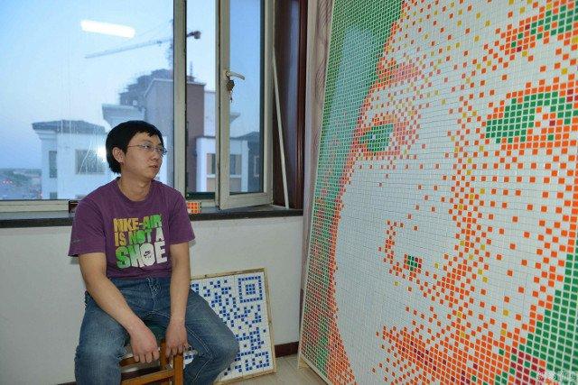 Фото №2 - Китаец сделал портрет девушки из 846 кубиков Рубика и был отвергнут!