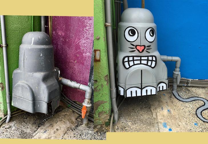 Фото №1 - Ты смотри, что творит этот гений стрит-арта из унылых предметов, окружающих тебя на улице!