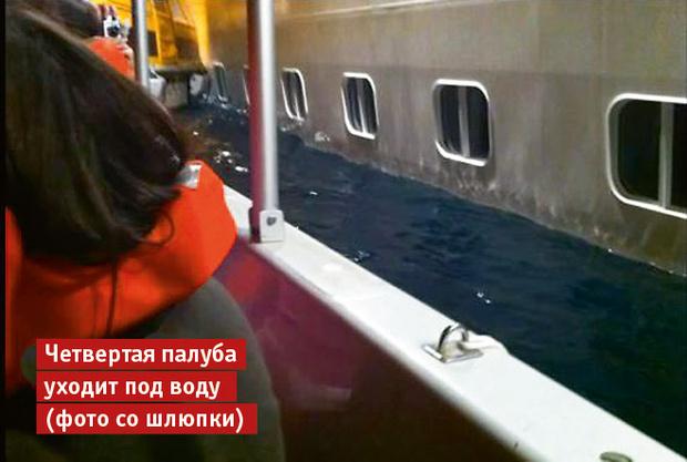 Четвертая палуба уходит под воду (фото со шлюпки)