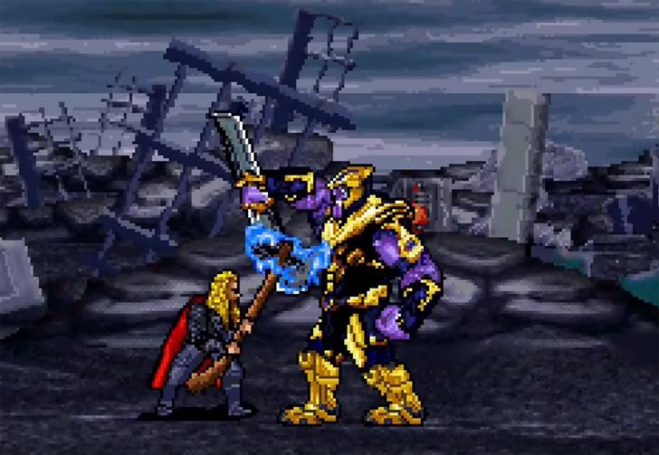 Фото №1 - Сцену сражения с Таносом из последних «Мстителей» воссоздали в 16-битной версии (видео)