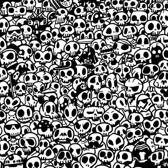 А ты сможешь найти панду среди черепов?