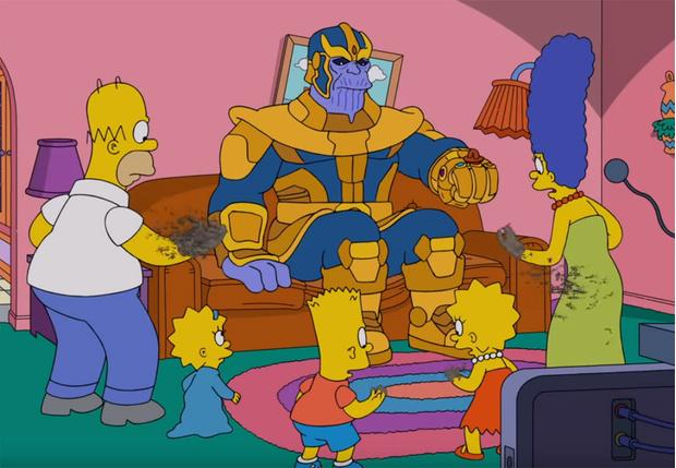 Фото №1 - Танос зашел в гости к Симпсонам и оставил в живых только сильнейшую