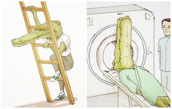 Фото №1 - 18 смешных иллюстраций о жизни крокодила