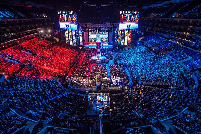 Сеульский стадион Sangam во время чемпионата по League of Legends