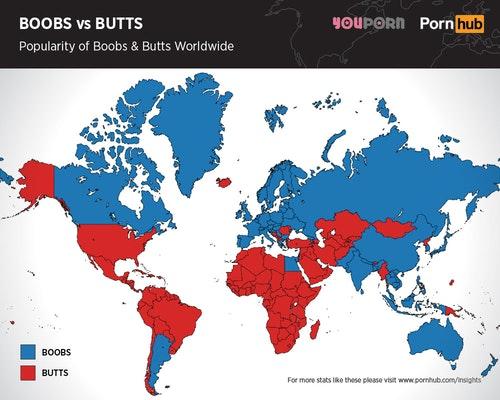 Фото №2 - Грудь или попа? Географическая карта, показывающая, что популярнее в разных странах
