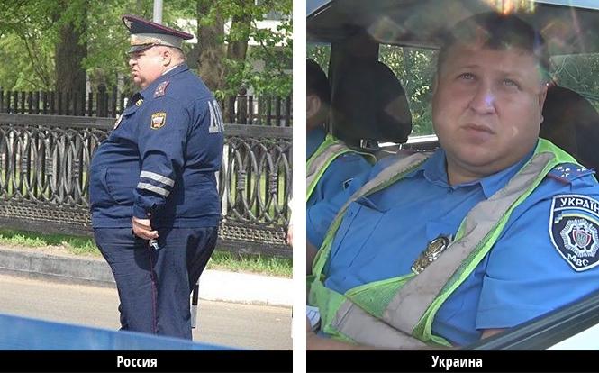 русский толстый гаишник и украниский толстый гаишник