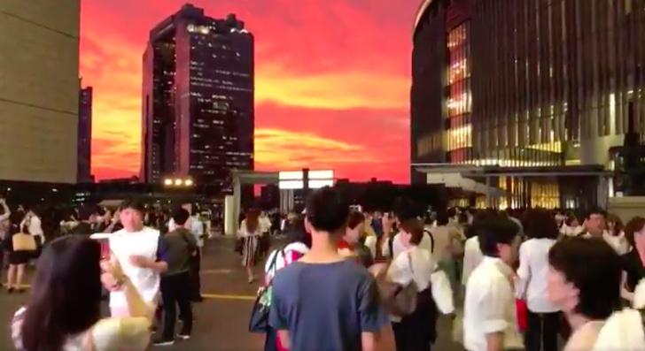 Фото №1 - Самый невероятный закат в Осаке (ВИДЕО)