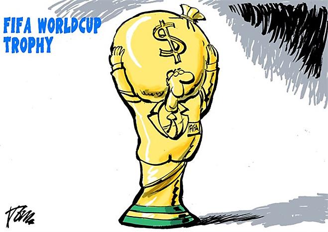 Фото №1 - Пенальти разных широт: коррупция ФИФА глазами иностранных карикатуристов