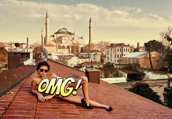 Фото №1 - Модель сфотогорафировалась обнаженной в турецком храме