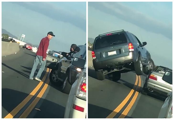 Фото №1 - Дорожный хам жестоко наказан — благодаря собственной глупости. Видео!