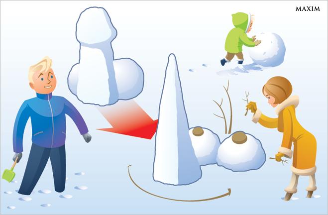 Превращаем снежный фаллос в лицо Буратино