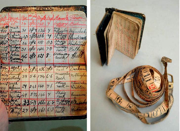 Блокнот для учета повешенных Томаса Пьерпойнта и его сантиметр для измерения приговоренных