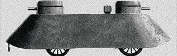 Первый в мире броневик. Английский конструктор Фредерик Симмс показал общественности вооруженный пулеметом «квадроцикл Симмса».