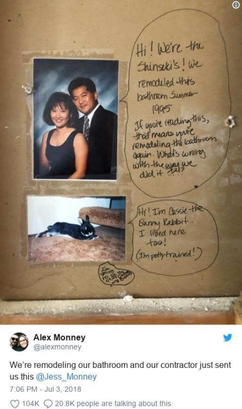 Фото №2 - Пара начала делать ремонт и обнаружила послание им (!) из прошлого