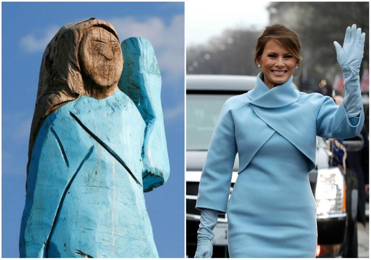 Фото №1 - В Словении появилась деревянная статуя Меланьи Трамп, и местные не в восторге
