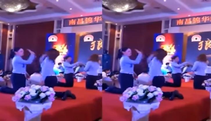 Фото №1 - Дикое видео: сотрудницы китайской фирмы хлещут друг друга по щекам за невыполнение плана