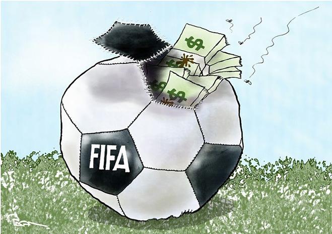 Фото №10 - Пенальти разных широт: коррупция ФИФА глазами иностранных карикатуристов