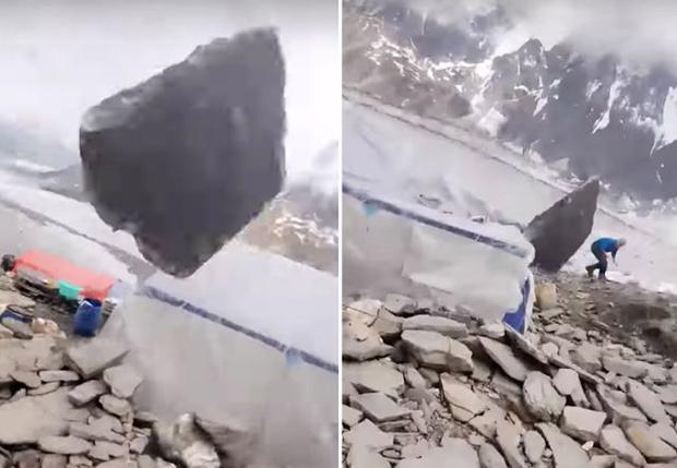 Фото №1 - Огромный валун упал на лагерь альпинистов, но промахнулся (видео)