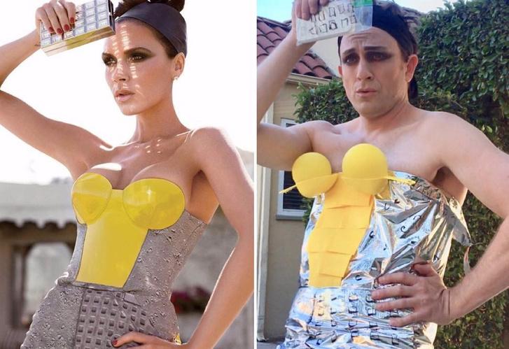 Фото №2 - Американский актер знатно троллит знаменитостей, мастеря их нелепые модные наряды из подручных материалов