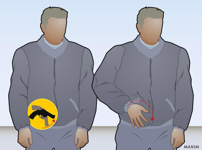 Если пистолет заправлен за пояс