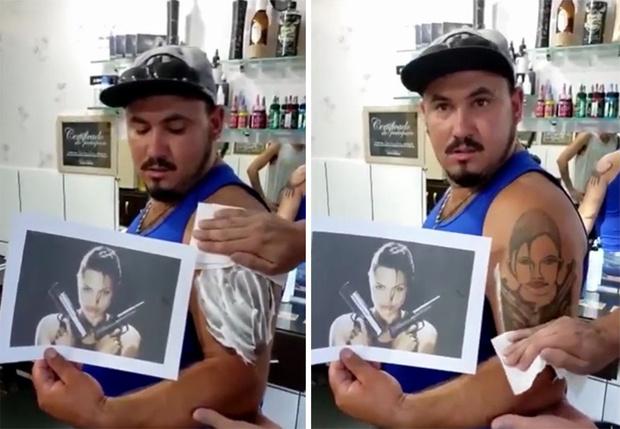 Фото №1 - Парню вместо реалистичного портрета сделали татуировку «упоротой» Лары Крофт (видео)