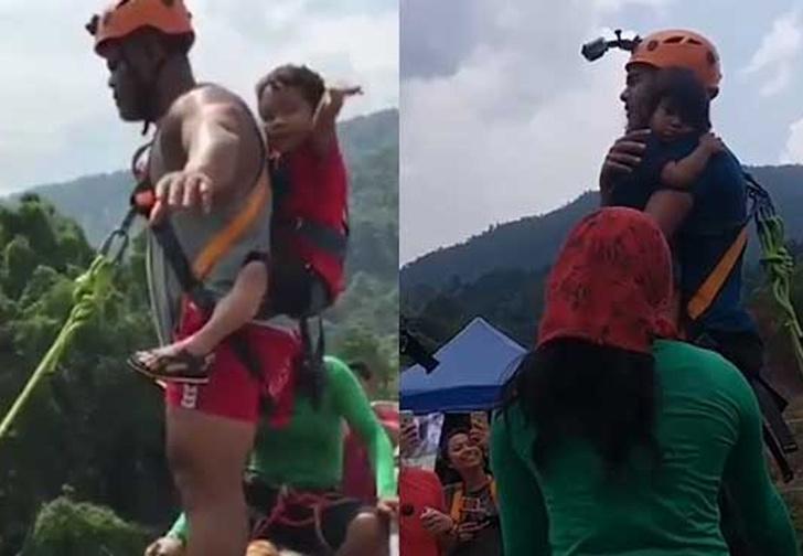 Фото №1 - Мужчина прыгнул с тарзанки с двухлетней дочкой в руках! Экстремально-возмутительное ВИДЕО