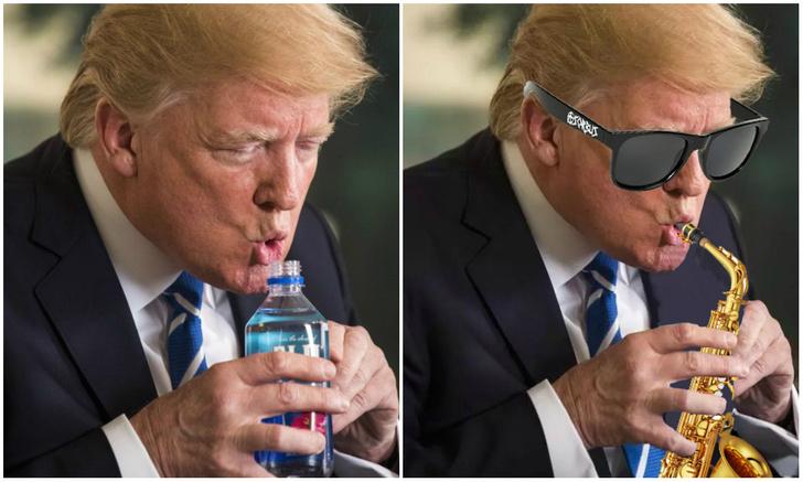 Фото №1 - Лучшие фотожабы на Трампа, пьющего из бутылки!