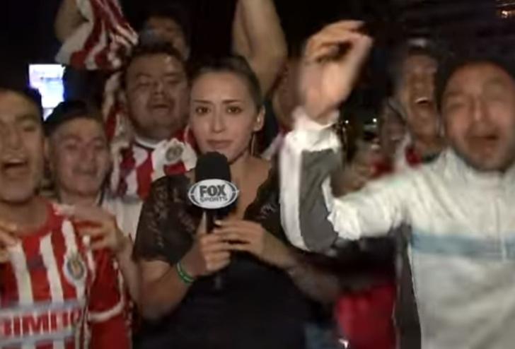 Фото №1 - Перевозбужденный фанат пощупал журналистку в прямом эфире, и она отмутузила его микрофоном! ВИДЕО