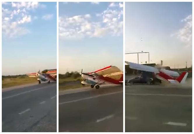 Взлетающий самолет врезался в фургон с арбузами!