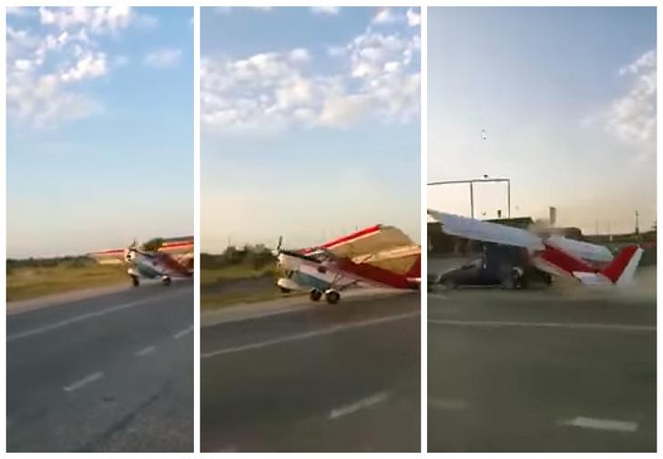 Фото №1 - Взлетающий самолет врезался в фургон с арбузами!