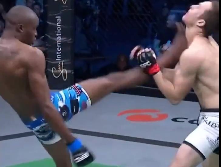 Фото №1 - Боец уложил соперника идеальным нокаутом (видео). Однако жест, которым он отметил победу, вызвал возмущение в Сети