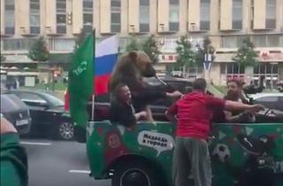 По Москве ездит медведь с дудкой, радуется сам и радует других