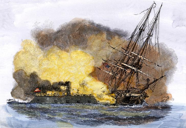 «Мерримак» атакует «Камберленд». Раскрашенная гравюра XIX века