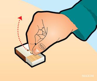 Фото №1 - Трюк: зажечь спичку одной рукой