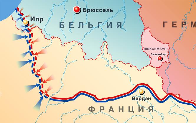 Позиции на осень 1914 года