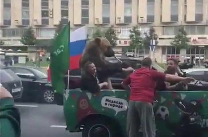 Фото №1 - По Москве ездит медведь с дудкой, радуется сам и радует других